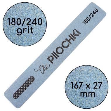 Пилочка для маникюра, 180/240 грит, Ровная 167 мм, Синяя