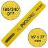 Пилочка для маникюра, 180/240 грит, Ровная 167 мм, Желтая